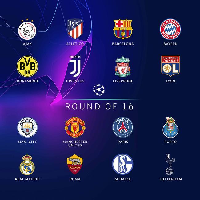 欧冠16强一览:皇萨仁领衔 曼联利物浦小组第二