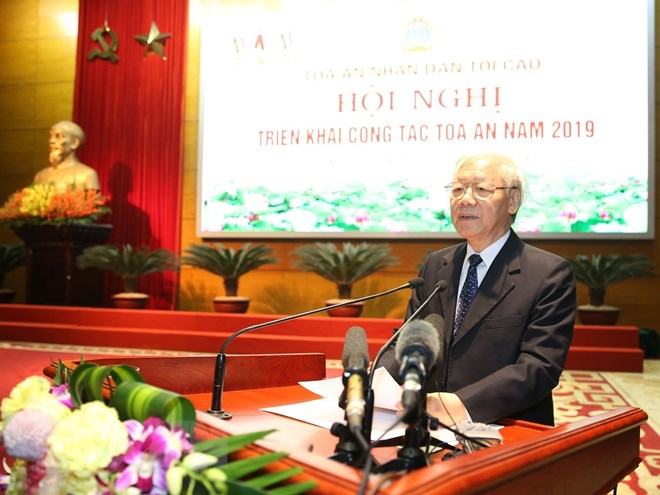 越共中央总书记、国家主席阮富仲出席2019年法院部门工作任务部署会议