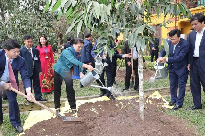 国会主席阮氏金银在胡志明主席遗迹区植树留念