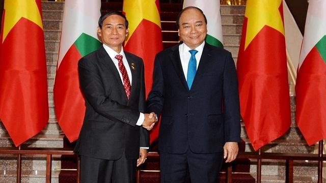 越南政府总理阮春福和国会主席阮氏金银会见缅甸总统吴温敏