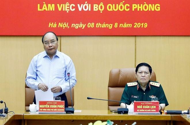 政府总理阮春福同国防部就国防用地管理问题召开会议