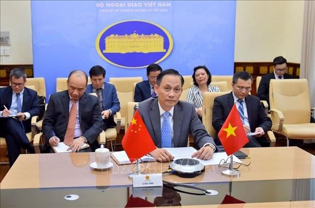 越南外交部副部长黎怀忠同中国外交部副部长罗照辉举行视频会议