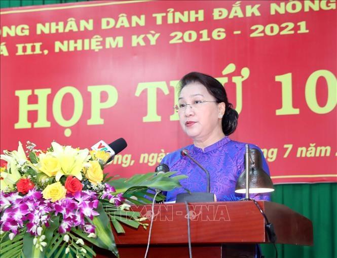 越南国会主席阮氏金银出席得农省人民议会会议