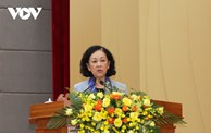 越共中央民运部部长张氏梅会见林同省选民