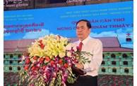 陈青敏同志出席庆祝2021年高棉族传统新年的芹苴军民节总结仪式