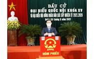 越南国会主席王廷惠在海防市安老县参加投票