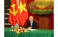 越共中央总书记阮富仲同中共中央总书记、中国国家主席习近平通电话(组图)