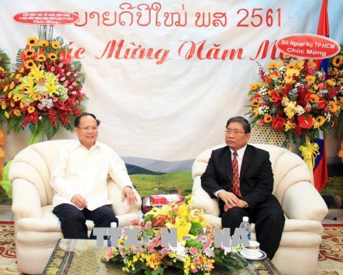 Lãnh đạo TP. Hồ Chí Minh chúc Tết cổ truyền Bunpimay của Lào