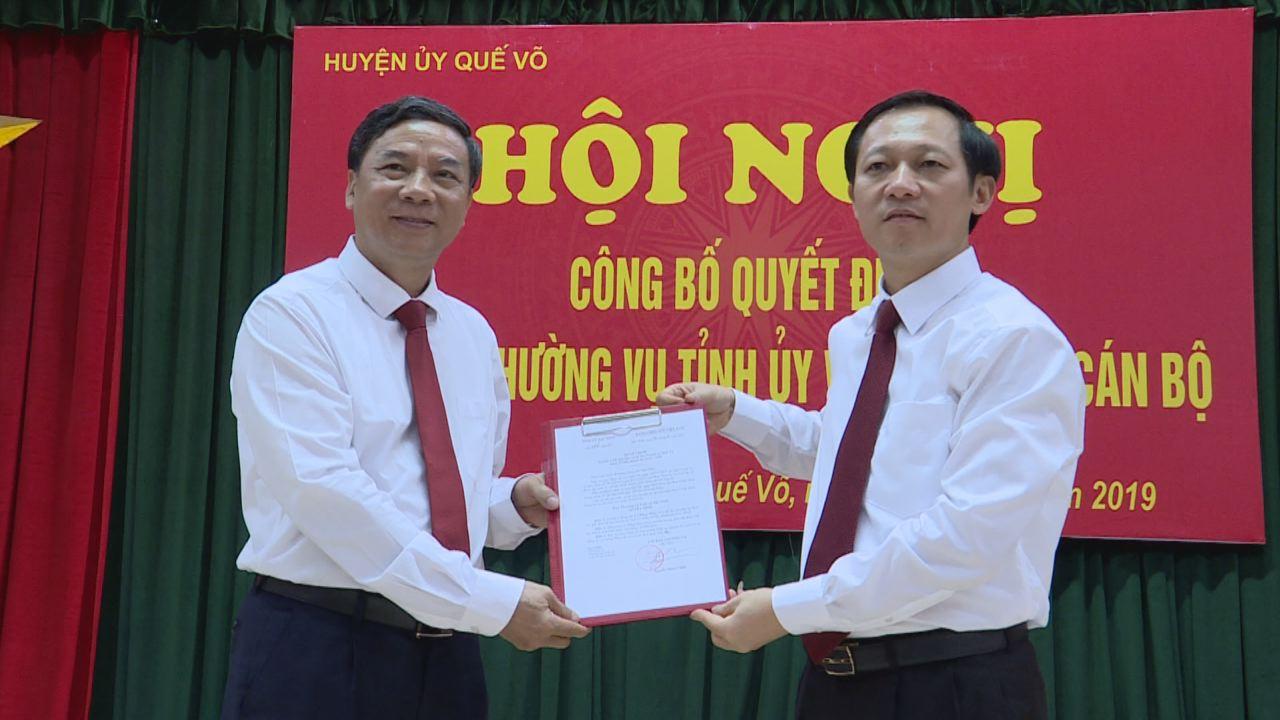 Công bố Quyết định của Ban Thường vụ Tỉnh ủy về công tác cán bộ huyện Quế Võ