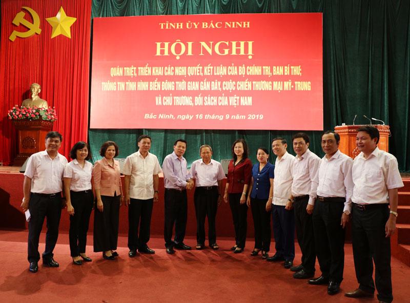 Tỉnh ủy Bắc Ninh tổ chức quán triệt, triển khai một số Nghị quyết, Kết luận của Bộ Chính trị, Ban Bí thư; thông tin tình hình Biển Đông và cuộc chiến thương mại Mỹ - Trung
