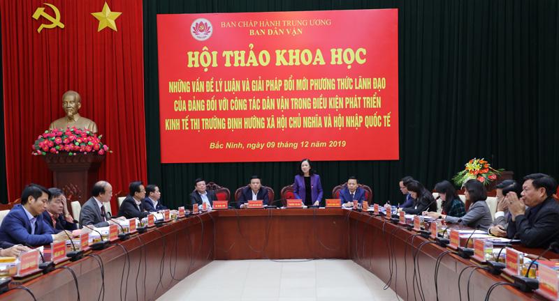 """Những vấn đề lý luận và giải pháp đổi mới phương thức lãnh đạo của Đảng đối với công tác dân vận trong điều kiện phát triển kinh tế thị trường định hướng XHCN và hội nhập quốc tế"""""""