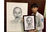 Nam sinh quê Bắc Ninh vẽ chân dung Bác Hồ bằng tên 63 tỉnh thành