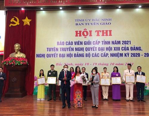 Thí sinh thuộc Đảng bộ Khối các Cơ quan và Doanh nghiệp tỉnh đạt giải Nhất Hội thi Báo cáo viên giỏi năm 2021