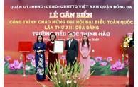 Gắn biển công trình Trường Tiểu học Thịnh Hào chào mừng Đại hội đại biểu toàn quốc lần thứ XIII của Đảng