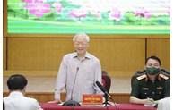 Tổng Bí thư Nguyễn Phú Trọng và các ứng cử viên đại biểu Quốc hội khóa XV vận động bầu cử tại Hà Nội