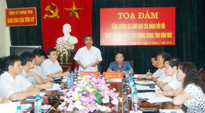 """Hưng Yên: Tọa đàm """"Tăng cường sự lãnh đạo của Đảng đối với công tác vận động quần chúng trong tình hình mới"""""""