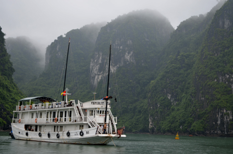 Illusory Ha Long Bay in rain