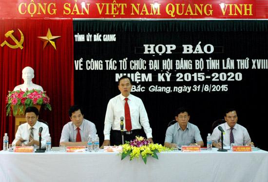 Đại hội Đảng bộ tỉnh Bắc Giang lần thứ XVIII sẽ diễn ra từ ngày 30/9 đến ngày 3/10