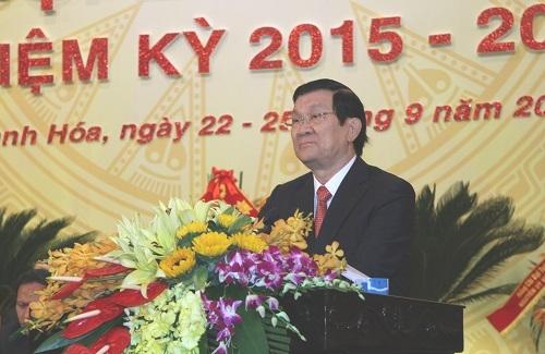 Chủ tịch nước dự Đại hội đại biểu Đảng bộ tỉnh Thanh Hóa lần thứ XVIII