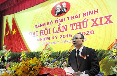 Khai mạc Đại hội Đảng bộ tỉnh Thái Bình lần thứ XIX, nhiệm kỳ 2015 – 2020